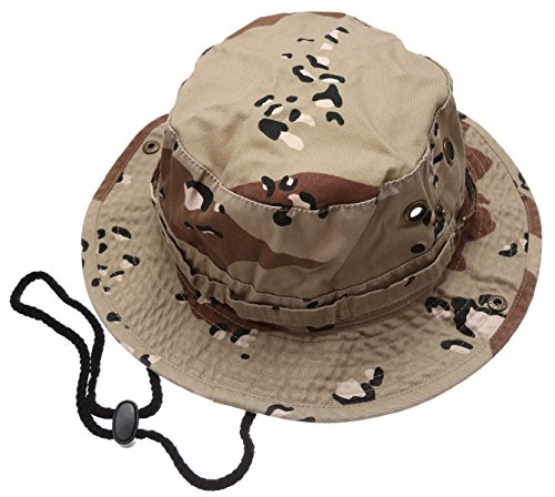 Summer Outdoor Boonie Hunting Fishing Safari Bucket Sun Hat with Adjustable Strap(Desert,LXL) - Brim Large Bucket