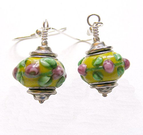 Yellow and Pink Floral Lampwork Glass Dangle Earrings