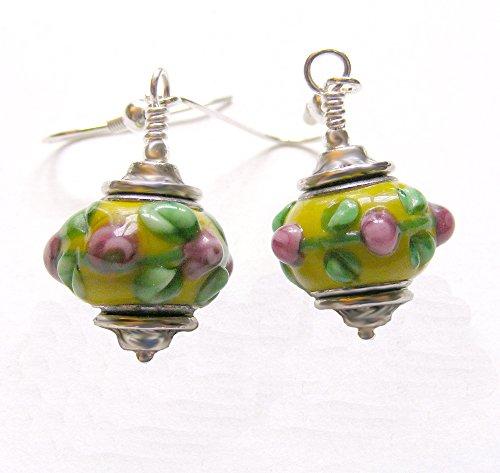 Yellow and Pink Floral Lampwork Glass Dangle - Glass Earrings Lampwork Dangle