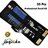 Magicdo® 35 Pcs Drawing Pencils, Sketching &Drawing Pencils Set With Case Includes Sketch Pencils, Erasers, Charcoal Pencils, Graphite Pencils, Sticks ,Art Supplies for Sketching, Drawings(35 Pcs)