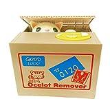 Mischief Saving Box Stealing Coin Piggy Bank, Yellow Cat Ocelot Remover