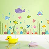"""perfect octopus wall decals Woodland 39"""" x 24"""" Under Sea Fish Shark Turtle Coral Octopus Deep Sea Removable Vinyl Wall Decals Stickers for Children Room Bathroom Nursery"""