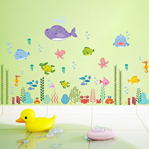 "Woodland 39"" x 24"" Under Sea Fish Shark Turtle Coral Octopus Deep Sea Removable Vinyl Wall Decals Stickers for Children Room Bathroom Nursery"
