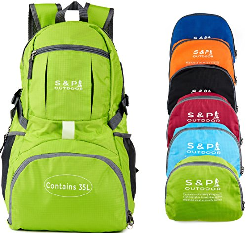 S & P Outdoor 35L Sport waterproof Lightweight Packable backpack Durable folding Travel Hiking Trekking Camping Cycling Foldable Ultralight and Handy Daypack Backpack (Lime Green)
