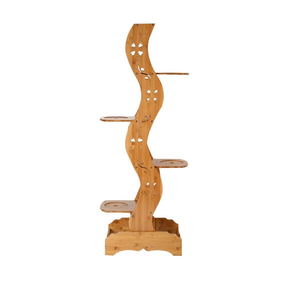 Flower Stand- Rattan in bambù Fioriera creativa Fioriera da tavolo Struttura antica Piattaforma multifamiliare Balcone Soggiorno Scaffale in vaso in vaso 26x45x134cm Felice Home