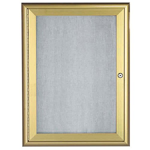 TableTop King OWFC2418G 24'' x 18'' Gold Enclosed Aluminum Indoor / Outdoor Bulletin Board with Waterfall Style Frame