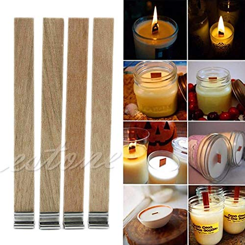 Candles - 10pcs 12.5mm X 150mm Candle Wood Wick With Sustainer Tab Making Supply - Hobnail Salt Diffuser Freshener Crisp Collection Exotic Spices Baby Redwood Jasmine Money Cinnamon Tropical - Salt Hobnail