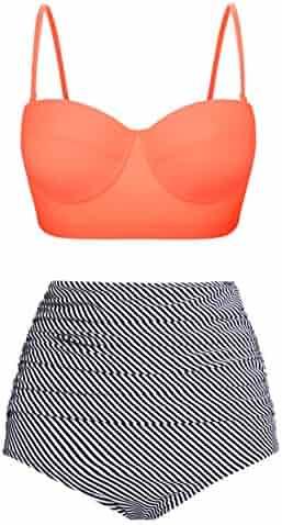 6920a1566c4 Fancyskin Sexy Women's High Waisted Bathing Suits Vintage Two Piece Bikini  Top Swimsuit