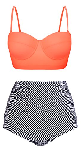 Swiland Women Vintage Swimsuits High Waisted Bikinis Bathing Suits Retro Halter Underwired Top,US 10-12=Tag Size 2XL,Orange