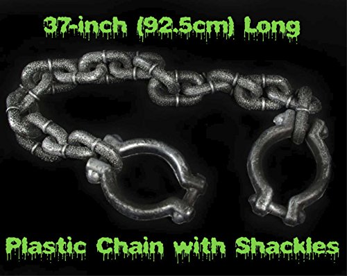 HORROR-HALL Fake Plastic Chain w- Shackles Halloween Haunted House Prop Building Decorations