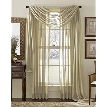 Amazon Com Gorgeous Home 3pc Taupe Tan Voile Sheer Window