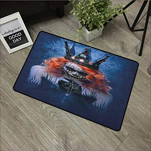 Sillgt Queen Crystal Velvet Doormat Queen of Death Scary Body Art Halloween Evil Face Bizarre Make Up Zombie with No-Slip Backing 20