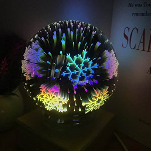 (Tmore 3D Fireworks Night Light, Glass Lamp Magical Crystal Ball USB Power Starry Decorative Lamp Colorful Sphere Table Light (Snowflake))