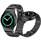 Binmer(TM) Stainless Steel Watche Band + Connector for Samsung Gear S2 RM-720 (Black)