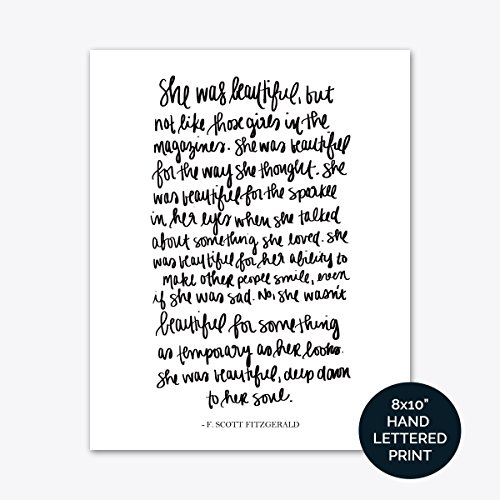 She Was Beautiful F. Scott Fitzgerald Print Art | Love Quotes Inspirational Gallery Wall Office Accessories Home Decor Wedding Gift by Sweet Water Decor