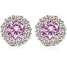 Beuu Jumping Property Prices Round Zircon Earrings Colors Romantic Gold Color Stud With Aaa For Woman