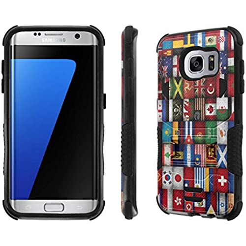 Galaxy S7 Edge Case, [NakedShield] [Black/Black] Combat Tough SHOCK PROOF with KICKStand - [World Flag] for Samsung Sales
