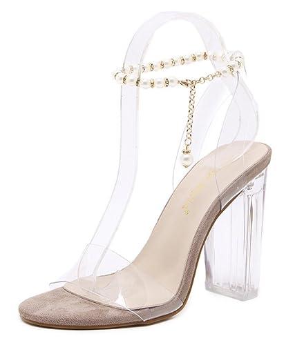 Mannequin Bloc Transparent Perles Talon Femme Bal Aisun Mode n0P8XwOk