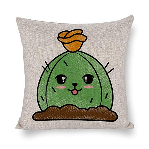FGN Cotton Decorative Throw Pillow Cover Cushion Cover for Couch Sofa Bedroom Cactus Desert Kawaii Character Pillowcase 18 x 18 -