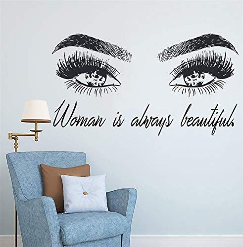 Poesr Removable Vinyl Wall Stickers Act Mural Decal Art Home Decor Woman Make Up Eye Eyelashes Lashes Extensions Beauty Shop Eyebrows Brows Beauty Gift