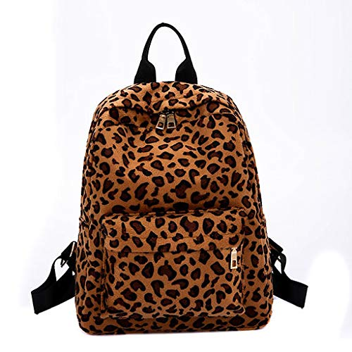 Lyperkin Double Shoulder Bag Fashion Women Backpack Leopard Plush Backpack Personalized Student Bag Durable Laptops Backpack Casual Daypacks College School Computer Bag for Lady Womens N-50 ()