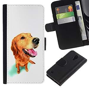 Golden Labrador Retriever Dog Muzzle - la tarjeta de Crédito Slots PU Funda de cuero Monedero caso cubierta de piel Samsung Galaxy S4 IV I9500