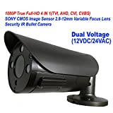 101AV 1080P True Full-HD Security Bullet Camera 4IN1(TVI, AHD, CVI, CVBS) 2.1Megapixel CMOS Image Sensor 2.8-12mm Variablefocus Lens IR In/Outdoor Auto Iris OSD Dual Voltage 12VDC/24VAC Charcoal