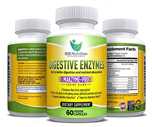 Digestive Enzyme Supplements for Women and Men by BiB Nutrition – Vegetarian Capsules for Better Digestion, IBS Bloating and Gas Relief, Aid for Weight Loss and Stomach Comfort – Lifetime Guarantee