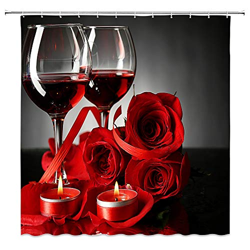 Lileihao Rose Red Wine Shower Curtain Bathroom Decor,Blooming Flower Romantic Couple,Waterproof Polyester Fabric Home Bath Decor Supplies Hanging Curtains Sets With Hooks 69 x 70 Inch, Red Black (Couples Shower Curtain)