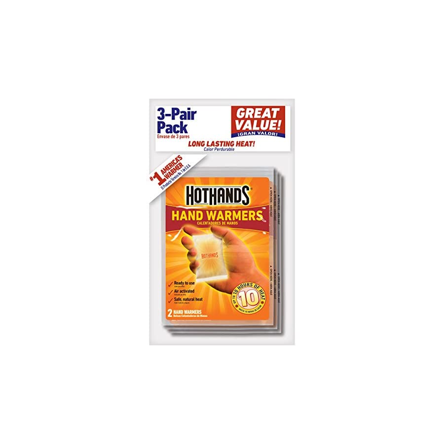 HotHands Hand Warmers Long Lasting Safe Natural Odorless Air Activated Warmers Up to 10 Hours of Heat 3 Pair