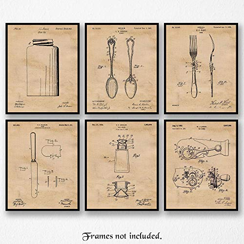 Vintage Kitchen Patent Art Poster Prints, Set of 6 (8×10) Unframed Photos, Great Wall Art Decor Gifts Under 20 for Home, Office, Garage, Man Cave, School, Student, Teacher, Chef & Culinary Fan