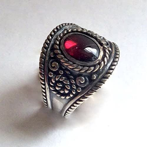 Amazon.com: Red Garnet silver gemstone ring Bohemian Tibetan ...