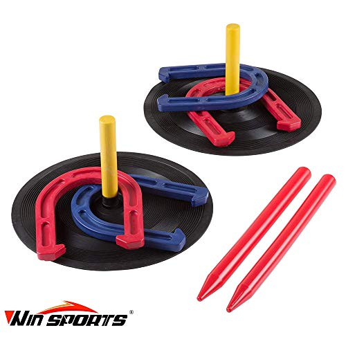 Rubber Horseshoes Game Set for Outdoor and Indoor Games-Includes 4 Horseshoes,2 Pegs,2 Rubber Mats,2 Red Plastic dowels-Beach Games Perfect for Tailgating,Camping,Backyard and Fun for Kids and Adults!