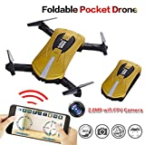 Gbell RC Drone for Kids Gifts,2MP PX GW018 WIFI FPV Real-Time View Foldable Altitude Hold Quadcopter - Headless Mode Easy to Fly for Beginners, Birthday Christmas New Year Gifts,Gold Blue (Gold)