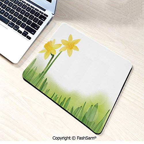 Personalized 3D Mouse Pad Daffodil Flower in Grass Field Meadows Freshening Uniform Colored Illustration for Laptop Desktop(W7.8xL9.45)