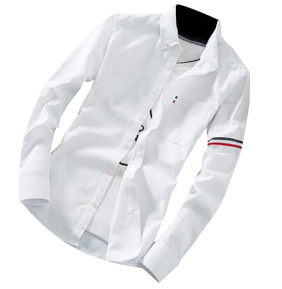 YUNY Men Long Sleeve Turn-Down Collar Basic Style Fashion Woven Shirt White XL