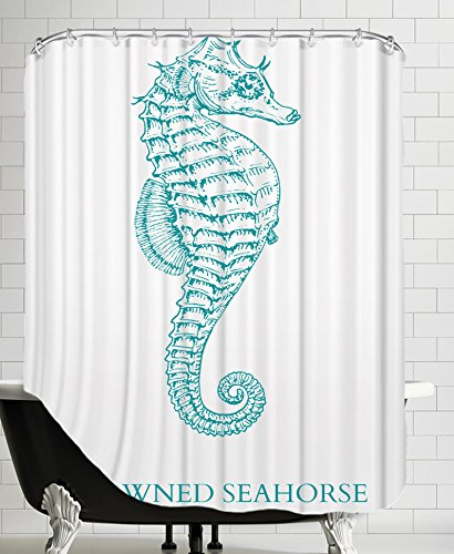 American Flat Seahorse Shower Curtain By Samantha Ranlet 71quot