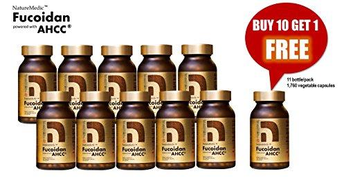 NatureMedic Fucoidan AHCC Brown Seaweed Immunity Supplement with Organic Mekabu Mozuku Agaricus 11 Bottles/Pack 1,760 Vegetable Capsules Made in Japan Review