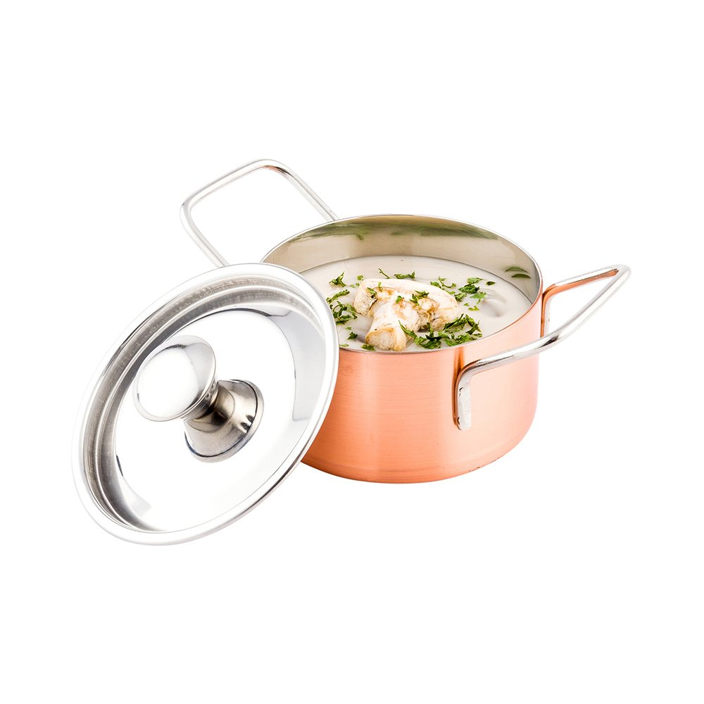 Mini Casserole Pot with Lid - Copper Plated Mini Pot - Stainless Steel - 1ct Box - Met Lux - Restaurantware