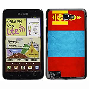 LJF phone case Shell-Star ( National Flag Series-Mongolia ) Snap On Hard Protective Case For Galaxy Note / i717 / T879 / N7000 / i9220