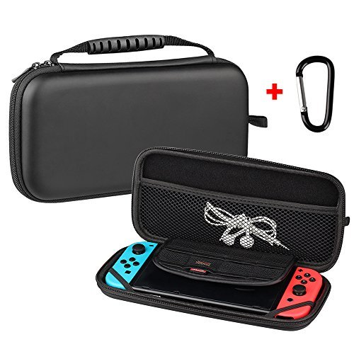 Kungber Protective Storage Bag Hard Travel Carrying Pouch Case for Nintendo Switch (Black)