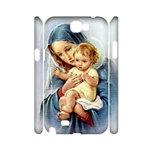 3D Samsung Galaxy Note 2 Case Mary and Jesus, Samsung Galaxy Note2 Case - [White] Haygen