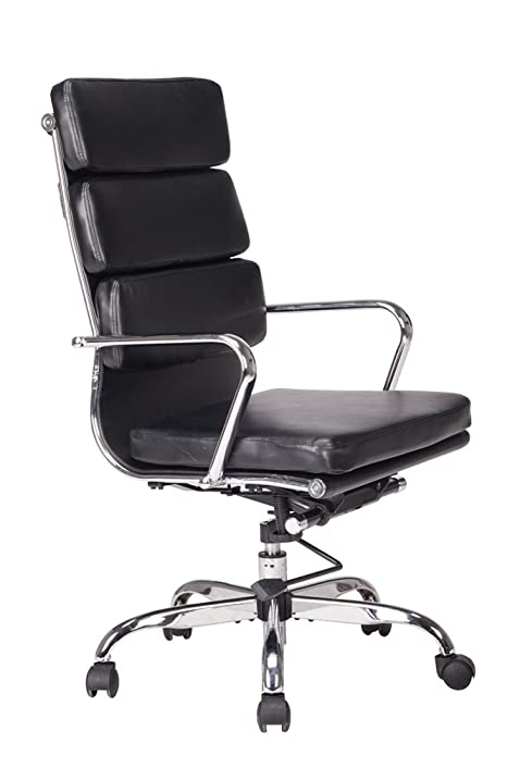 Bonded Leather Computer Chair High Back With Cushioned Seating