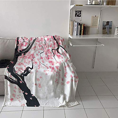 alilihome Children's Blanket Stroller Blanket for Sofa Couch Bed (35 by 60 Inch,House Decor,Japanese Cherry Tree Blossom in Watercolor Painting Effect Oriental Stylized Art Deco,Black Pink