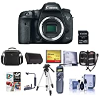 Canon EOS 7D Mark II DSLR Camera Body, with Wi-Fi Adapter Kit - Bundle With Camera Case, 64GB SDxC Card, Spare Battery, Remote Shutter Trigger, Tripod, Memory Wallet, Software Package, And More