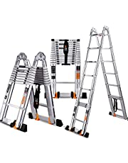 Multi-Function Extendable Alminium Ladders, Portable Aluminium Folding Telescopic Steps Ladder, Collapsible A Frame Ladder for Home Loft Office Roof Work Indoor Outdoor, 150kg Loading,A/2.9+2.9M