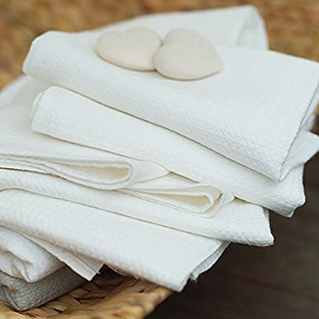 Amazon.com: Off White Linen Cotton Bath Towel Set Wafer: Kitchen & Dining
