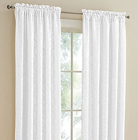 Insulated Rod Pocket Curtains: ThermaLace Anna Style Thermalogic Energy  Saving Curtain Pairs, White