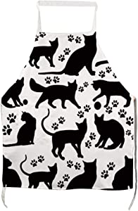 Dadidyc Everyday Basic Home Kitchen, Front Pockt, Pet Lover, Chef's Apron Meow, Cat Print Funny Apron Suitable for Cooking Gardening Waitress Chef Grill Baking BBQ Apron