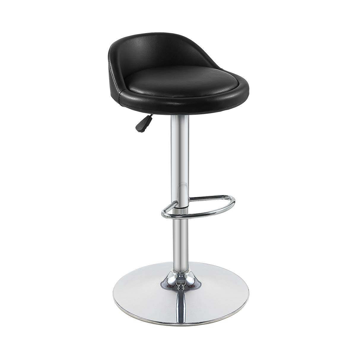 Grace Grace Bar Stool with Backrest and Footrest- Pneumatic Adjustable Swivel Counter Height Heavy Duty for Kitchen, Shop, Dining Room, Living Room, Caf Bar Stool, Black